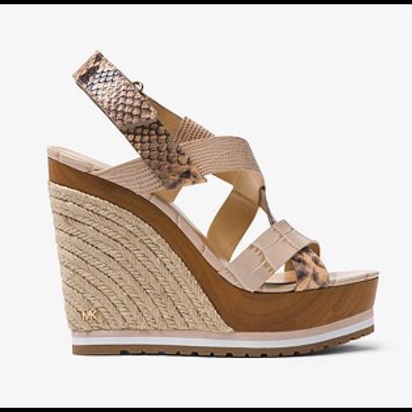d194c076e9 MICHAEL Michael Kors Shoes | Mackey Embossed Leather Wedge | Poshmark
